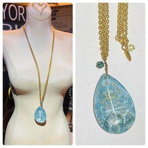Lenore Dame Blue Crystal Drop Pendant Double Chain